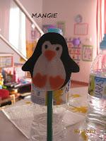Pingüino en fieltro para lápiz