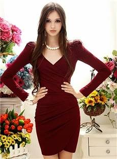 Simply Slim Long Sleeve V-neckline Dress