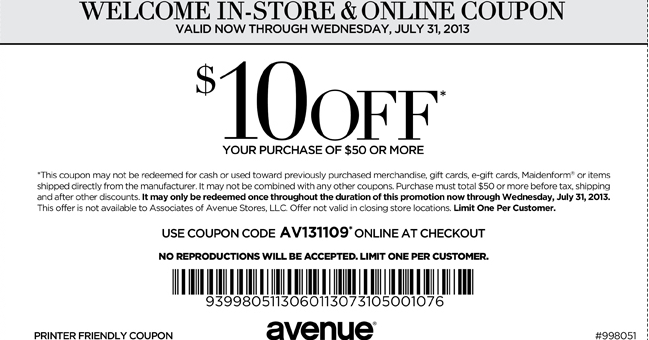 Avenue.com coupon code