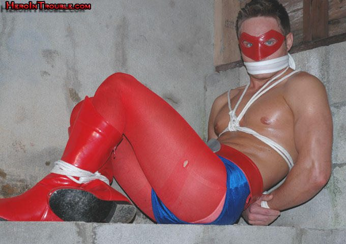 Superhero in bondage