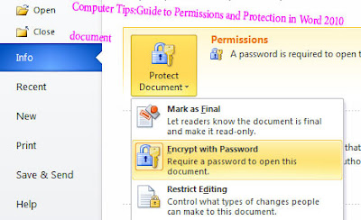Computer Tips:Guide to Permissions and Protection in Word 2010   document