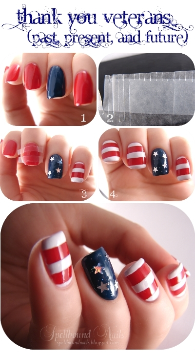 nails nailart nail art polish mani manicure Spellbound patriotic United States US USA American Flag Veterans Day stripes red white blue stars holo holographic Wet n Wild I Red a Good Book Fergie Hollywood Walk of Fame China Glaze First Mate tutorial
