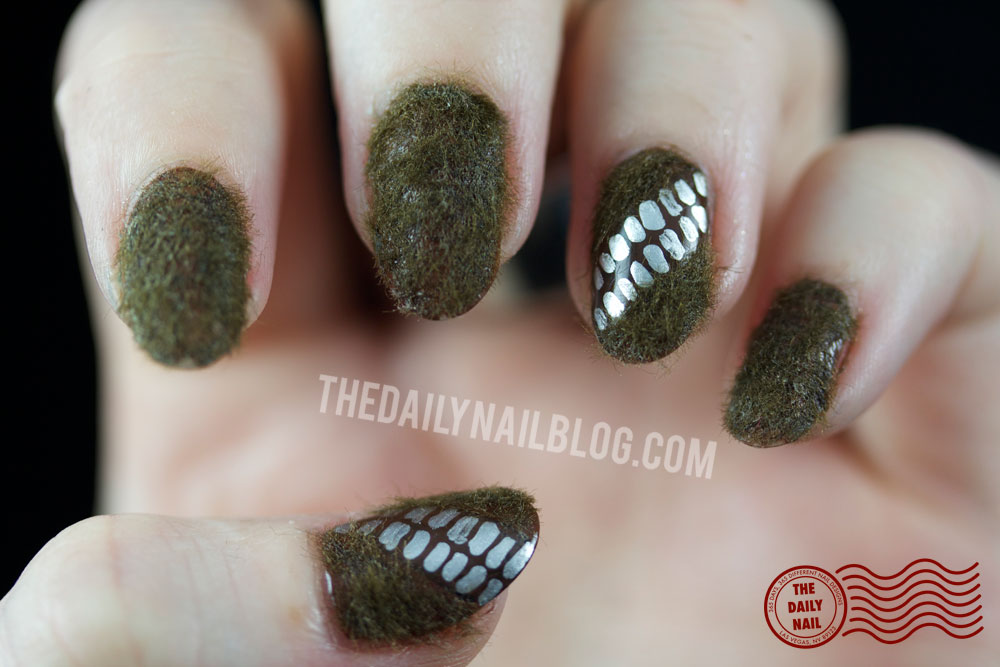 chewbacca, star wars, nail art, chewy, fuzzy, flocking