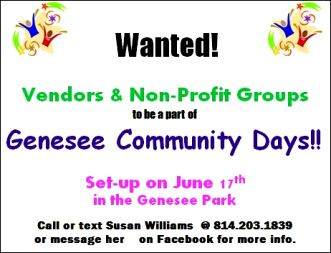 6-17 Vendors Wanted For Genesee Days