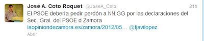 Tuit de José A. Roquet reclamando disculpas