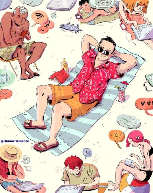 humor grafico tomando el sol en la playa verano WIFI tecnologia beach summer summertime