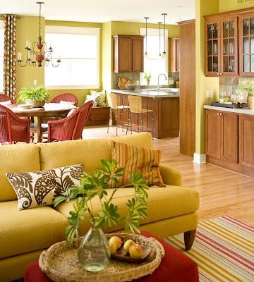 sala decorada acentos verdes