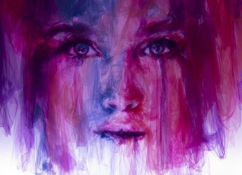 Gambar wanita dari kain tulle karya Shine