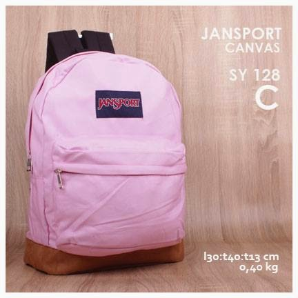 jual online tas jansport backpack kanvas polos kw super murah  warna pink