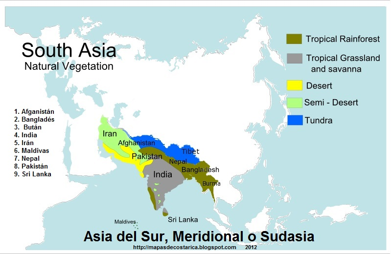 ASIA DEL SUR MERIDIONAL O SUDASIA  MAPAS DE