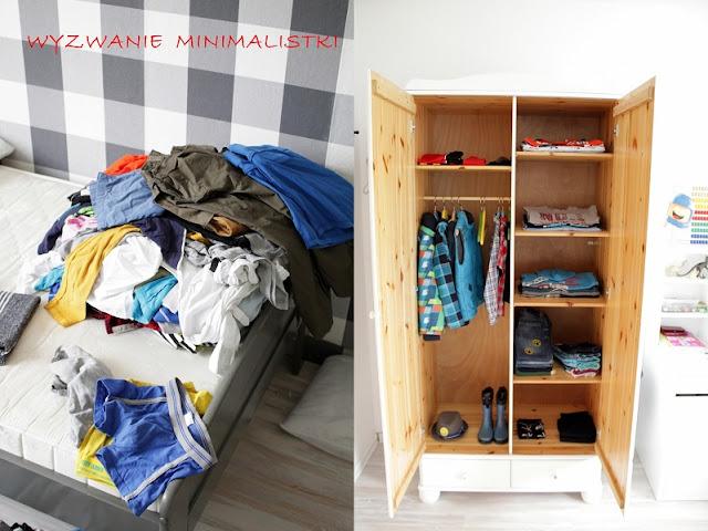 szafa, minimalizm, dziecko, ubrania