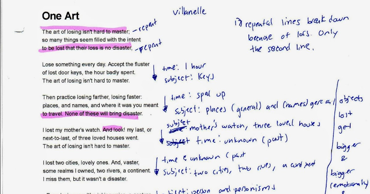 elizabeth bishop one art analysis essay The tools you need to write a quality essay or term paper one art elizabeth bishops one art, is an emotional poem that one art, by elizabeth bishop.