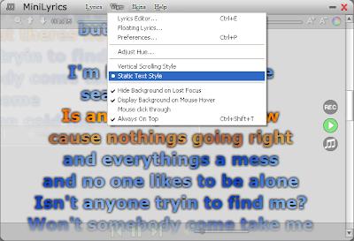 MiniLyrics v7.6.37, Menampilkan Lirik Lagu Di Pemutar Musik