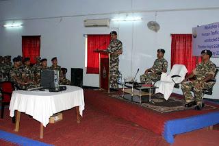 Kuldiep Singh IPS, IG, Sashastra Seema Bal SSB Siliguri Frontier addressing one day Workshop on Human Trafficking at Ranidanga