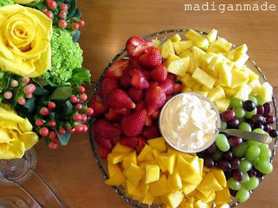 fruit dip, recipe, pineapple, strawberries, grapes, melon