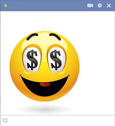 Money eyes Facebook emoticon