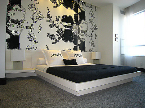 id e d co chambre noir et blanc. Black Bedroom Furniture Sets. Home Design Ideas