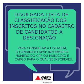 CONSULTAR A LISTA DE CLASSIFICAÇÃO DOS INSCRITOS PARA DESIGNAÇÃO DE 2014