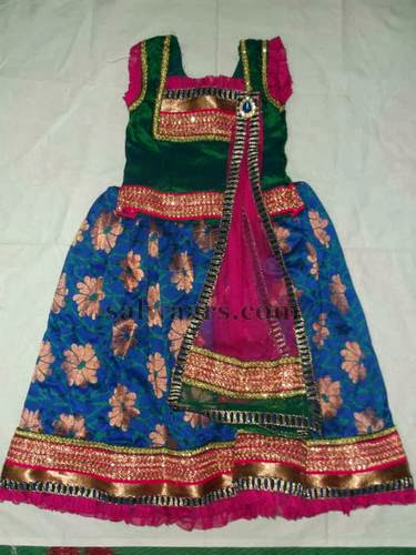 Blue Benaras Latest Kids Lehenga