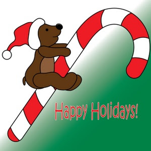 Christmas Candy cane with teddy bear on it wearing Santa hat on head Happy holidays message greeting clip art image