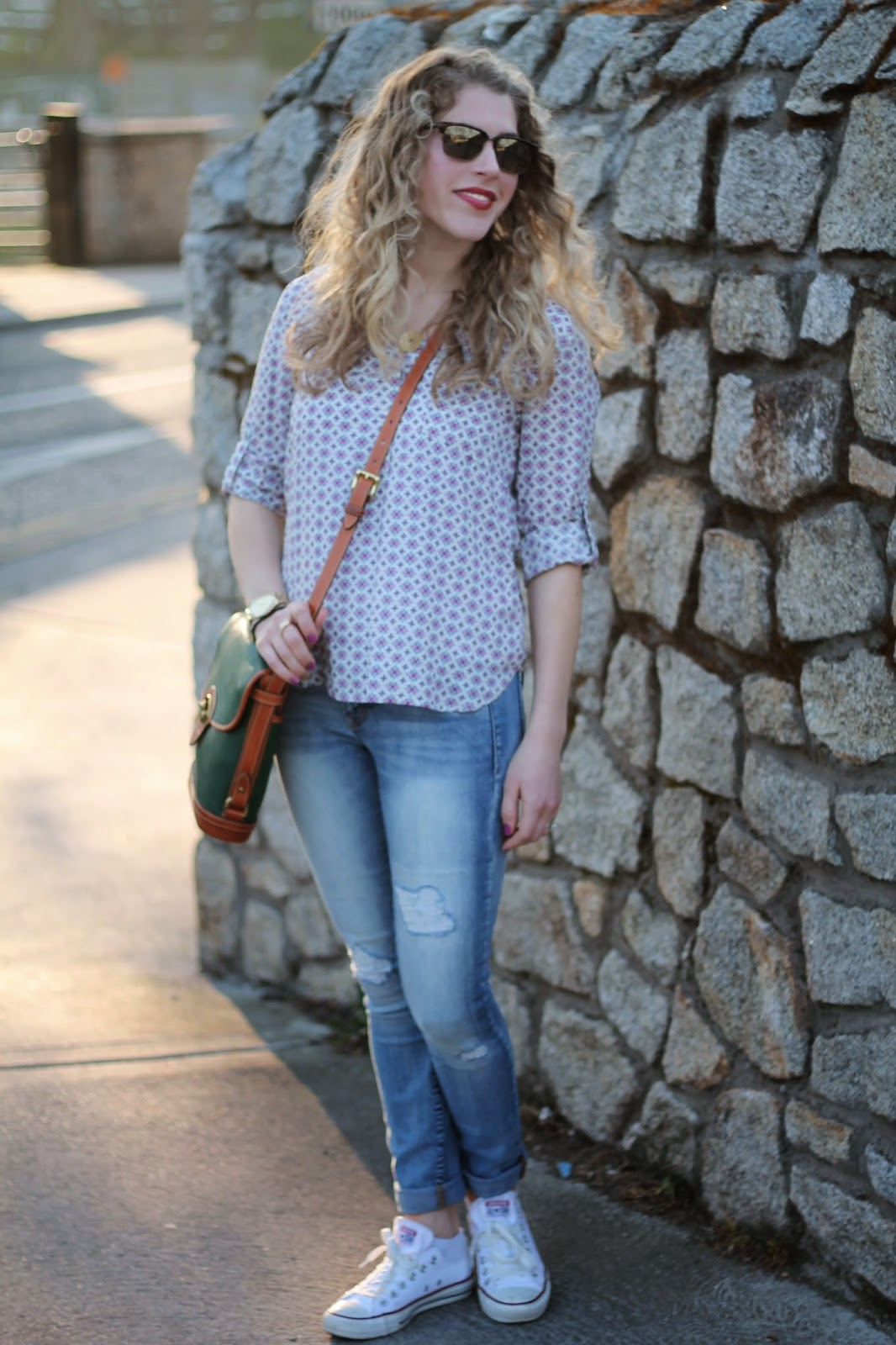 pink patterned blouse, distressed jeans, converse tennis shoes, Dooney & Burke crossbody bag, jamberry nail wraps