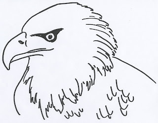 Coloring book page for an American Bald Eagle's head