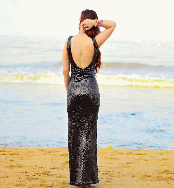 Black Backless Sequin Gown with thigh-high slit, Semi-Precious Jewelry, Silvette, Flash Tattoo