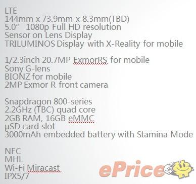 Sony Honami Specs Sheet