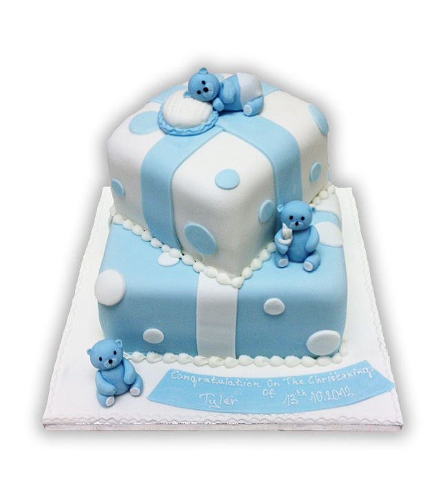 Square Christening Cake Images : Brigitta s Cakes: Christening Cake / Two tier,blue,square