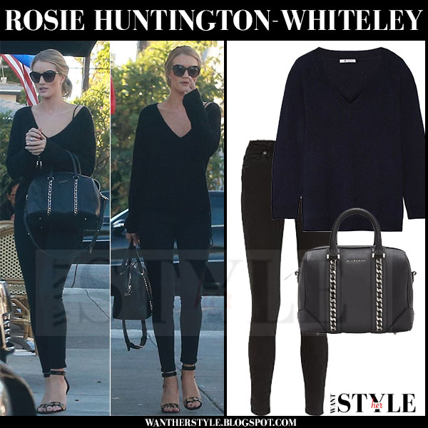 Rosie Huntington-Whiteley in black alexander wang sweater, black skinny paige denim hoxton jeans and black givenchy lucrezia bag what she wore models off duty