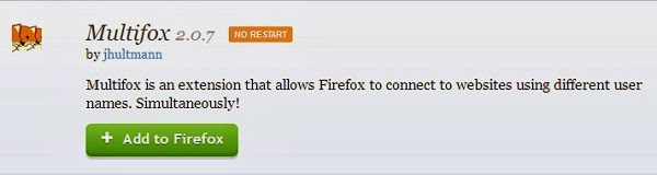 Multifox firefox extension that allows to connect multiple accounts on same websites Simultaneously