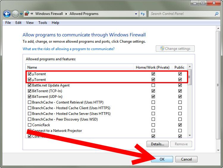 Firewall unblock utorrent