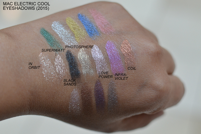 MAC Electric Cool Cream Eyeshadows 2015 Swatches In Orbit Superwatt Black Sands Photosphere Love Power Intraviolet Coil