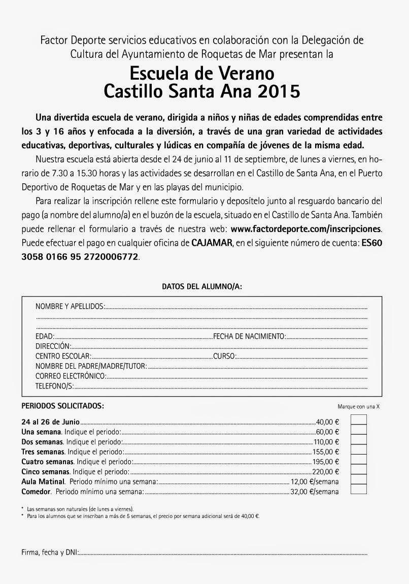Escuela de verano roquetas de mar castillo de santa ana for Oficina 3058 cajamar