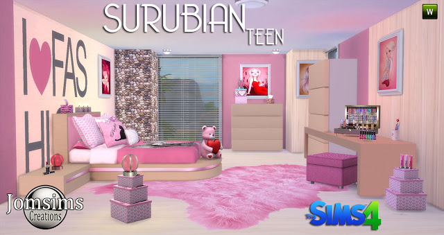 My Sims 4 Blog: Suburban Teen Bedroom Set by JomSims