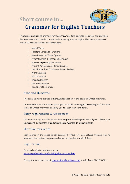 Anglo-Hellenic Teacher Training short course in Grammar for English Teachers