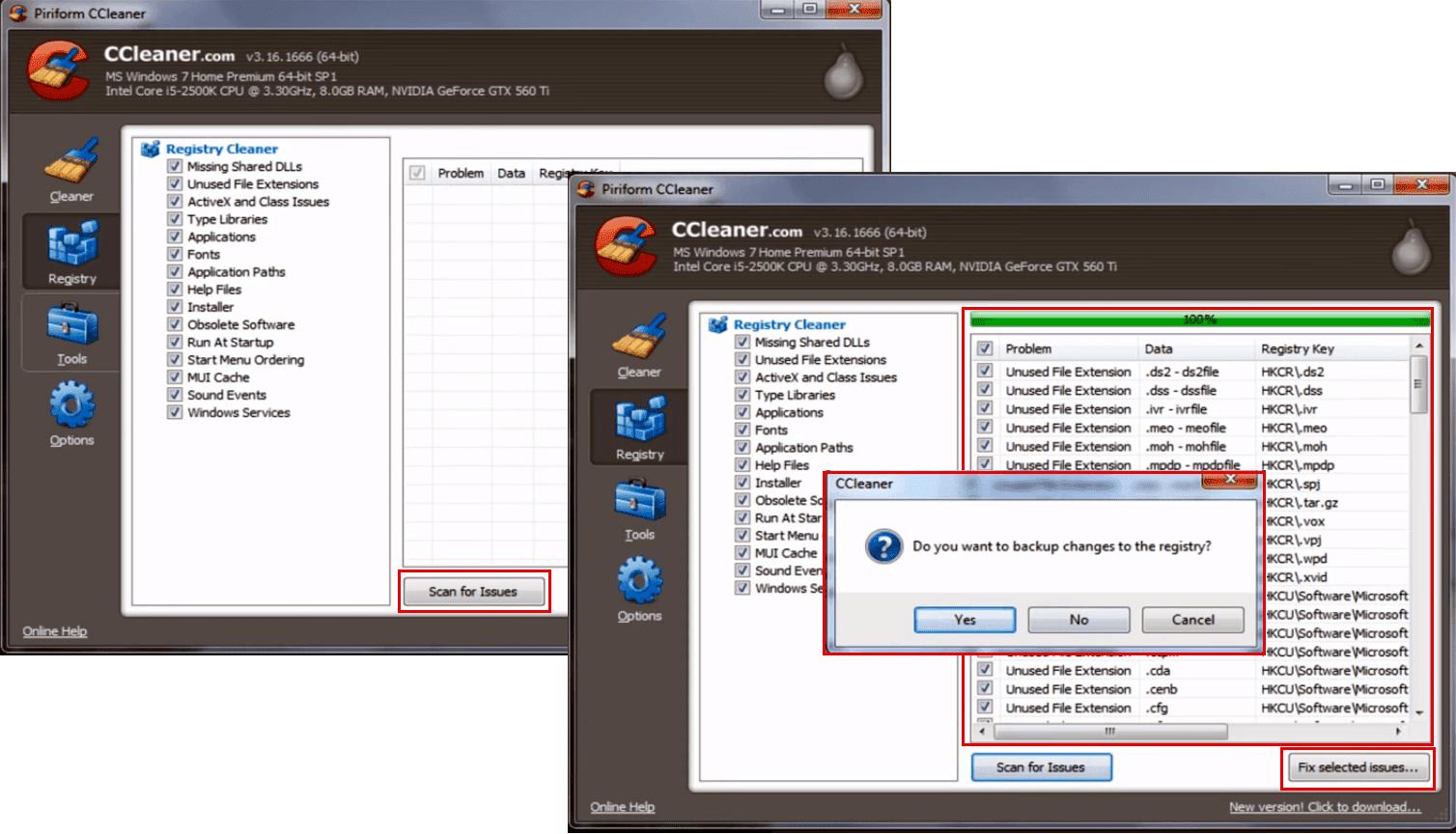 CCleaner - Registro