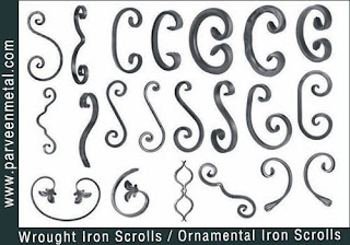 Ornamental iron scrolls and wrough iron scrolls hardware for gates parts and fences manufacturers exporters in  india, usa, uk, America, UAE Dubai, australia, italy