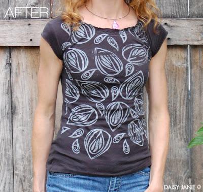 camiseta com estampa de folhas