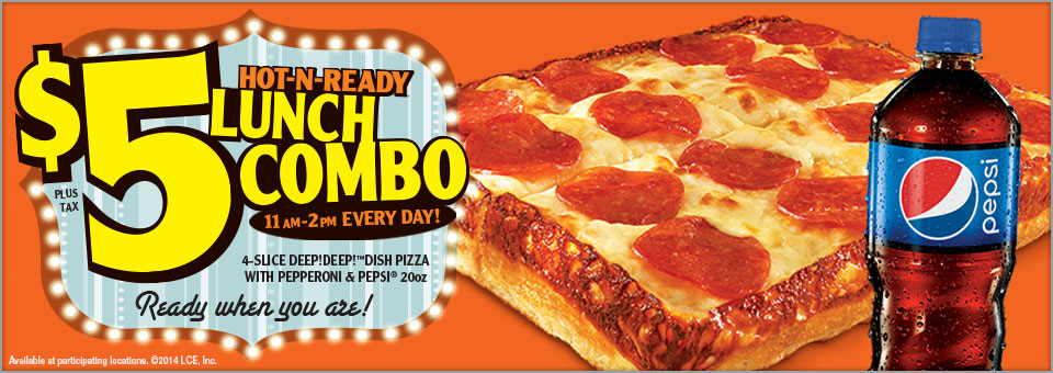 Don't sweat the next time you have a taste for pizza. With Little Caesars Pizza all of your pizza needs are taken care of with a simple point and click. Whether you order from computer at work or through your smart phone, Little Caesars Pizza expediently delivers .