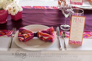 Pink and orange napkin bow by Take the Cake Event Planning