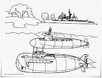 Gambar Dua Buah Kapal Selam Canggih Untuk Diwarnai Anak-Anak