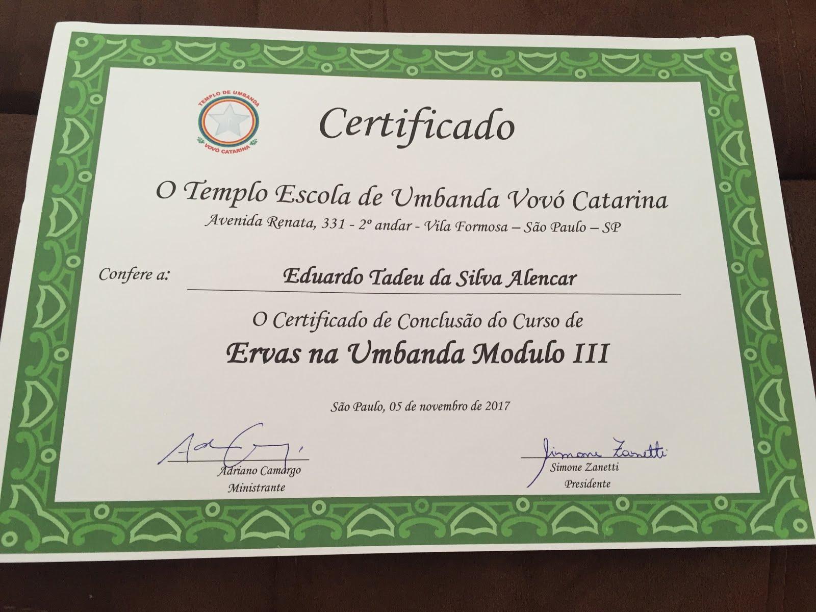 Certificado do curso de Ervas - módulo III