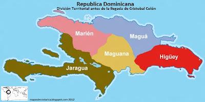 Division territorial de Republica dominicana antes de la llegada de Cristobal Colon