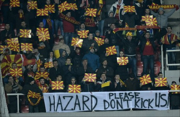 Macedonia fans ask Eden Hazard not to kick them