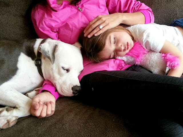 cuddly snuggle with a tired dog and child #cbias