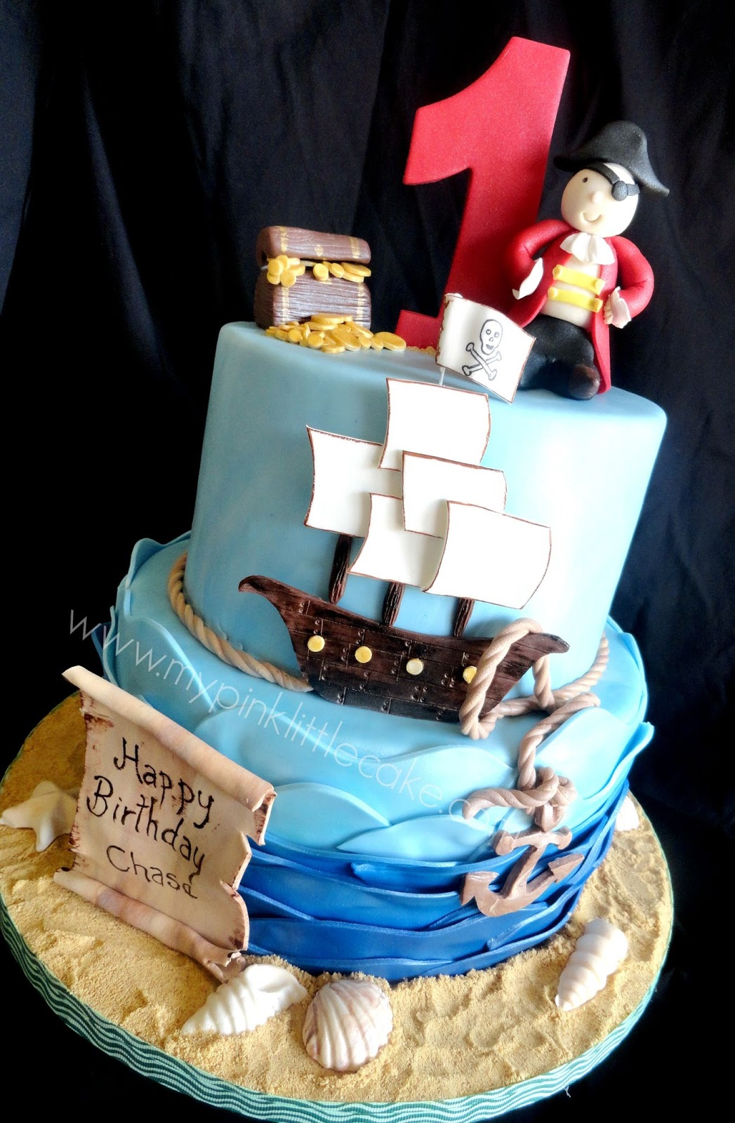 This Fun Pirate Theme Birthday Cake Was Made For A Little Boy Turning 1 He Enjoys Show In TV And His Mom Thought The Perfect