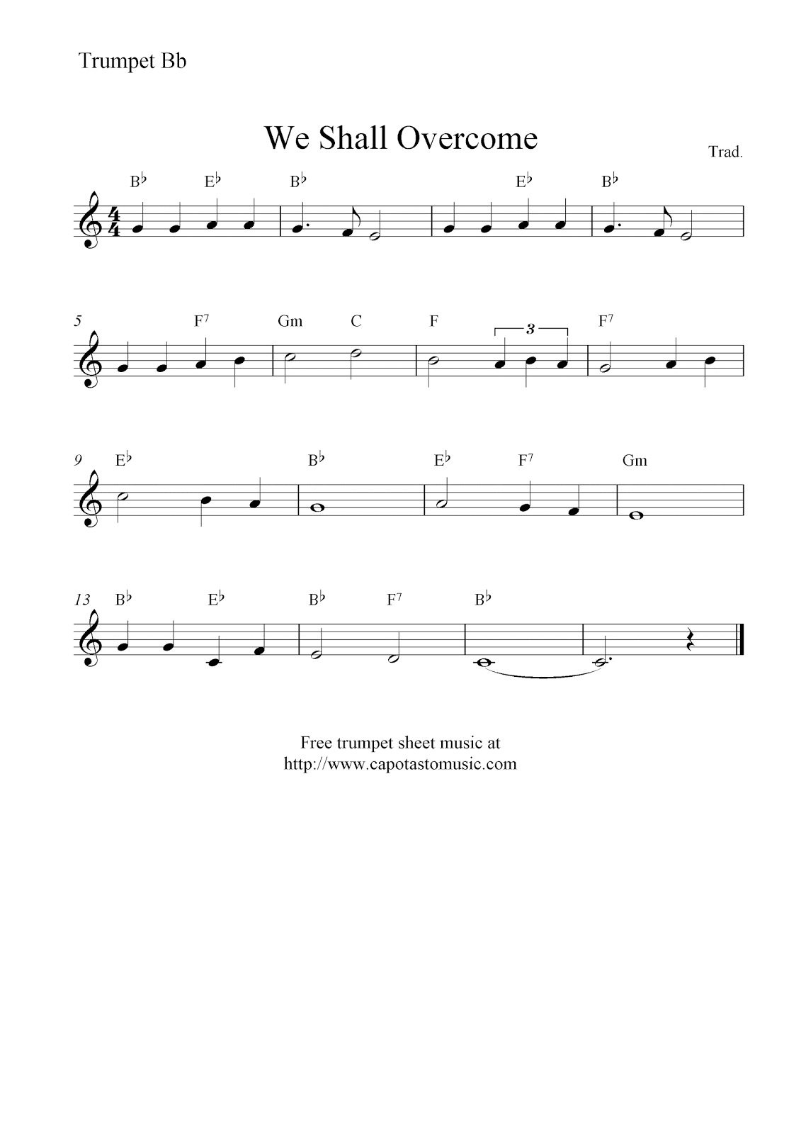We shall overcome free trumpet sheet music notes