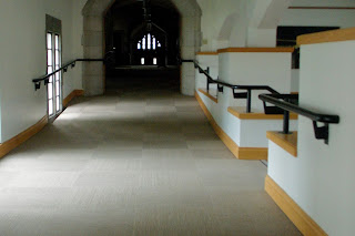 photo showing a series of ramps leading into the sanctuary of North UMC in Indianapolis, a 1931 Gothic-style building