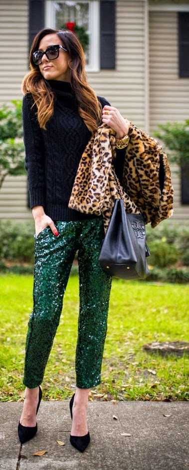 Green Sequins Pants with Leopard Soft Coat and Sweater by Sequins and Things